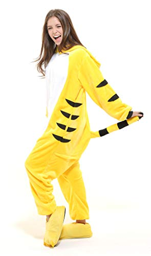 er-Kostüm für Erwachsense - Plüsch Einteiler Overall Jumpsuit Pyjama Schlafanzug - Orange/Weiß - Gr. M ()