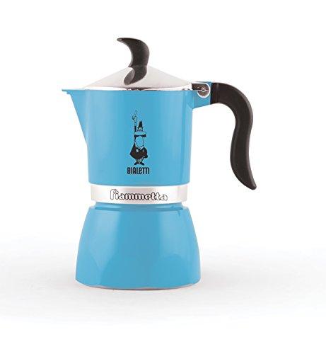 Bialetti 0004631 Moka Fiammetta, Caffettiera Espresso, Alluminio, Azurro Fluo, 1 Tazza