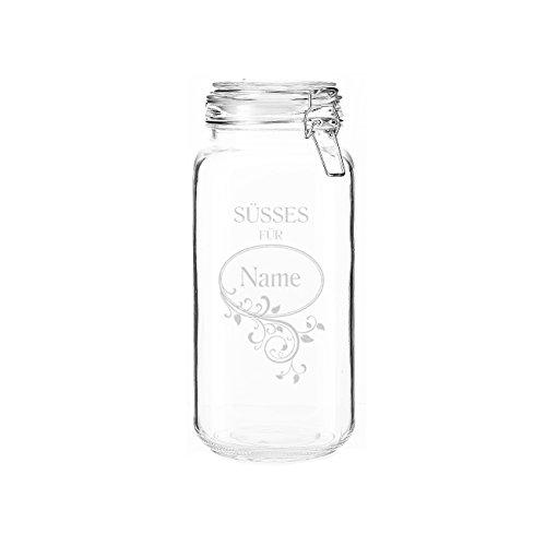 Herz & Heim® 2 Liter Aufbewahrungsglas für Süßigkeiten mit gratis Gravur des Namens