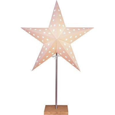 Standleuchte Papier Stern beige auf Holzbasis eiche 68x43cm Kabel 1,80M 230V E14 ohne Leuchtmittel