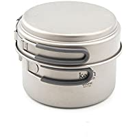 Keith Ti6012 - Juego de cuencos de titanio (400 ml, 800 ml, con mango plegable, para cocina, camping, picnic, utensilios de cocina)