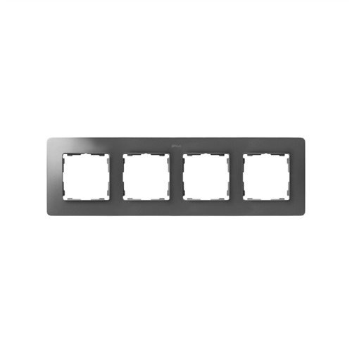 Simon 8200640-093 - Marco 4 Elem. Aluminio Base Blanca