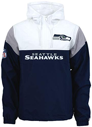 New Era - NFL New Seattle Seahawks Colour Block Windbreaker - Blau-Weiß-Grau Größe 3XL, Farbe Blau-Weiß-Grau Block-print-jacke