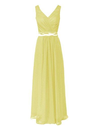 Dresstells Damen Brautjungfernkleider Abendkleider V-Ausschnitt DT90047 Gelb