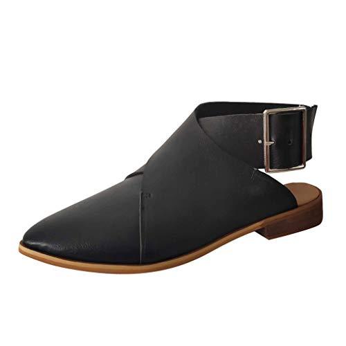 JiaMeng Damen Sommer Spitz Schnalle Riemen Ankle Vintage Sandalen römische Schuhe