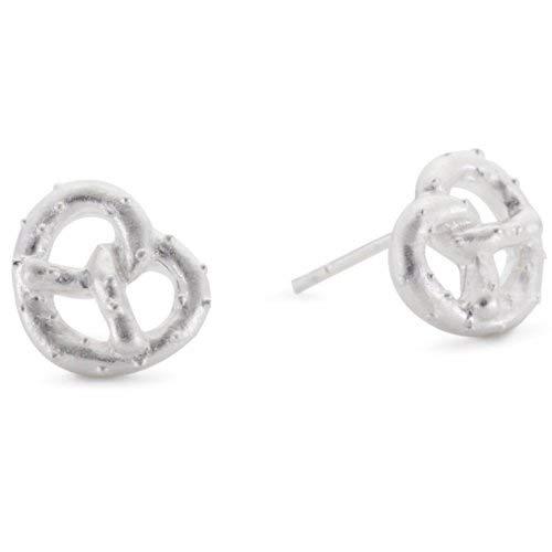 Vinani Ohrstecker Brezel klein mattiert Sterling Silber 925 Ohrringe OBZ