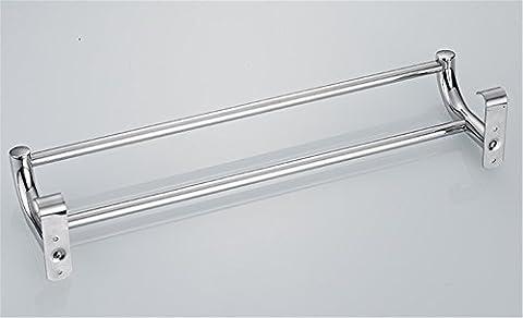 Pingofm de salle de bain en acier inoxydable Barre de serviette double barre porte-serviettes de salle de bain Serviette Pendentif, 50cm