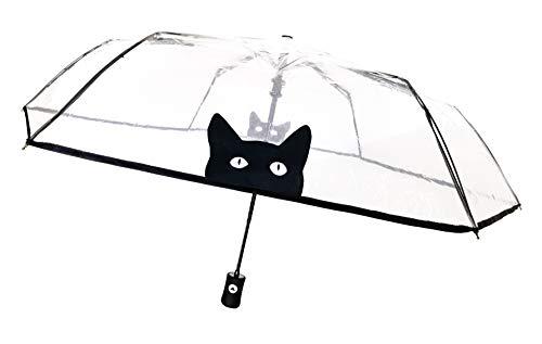 SMATI Paraguas Plegable Transparente con Gato automático antiviento Ultra Solido