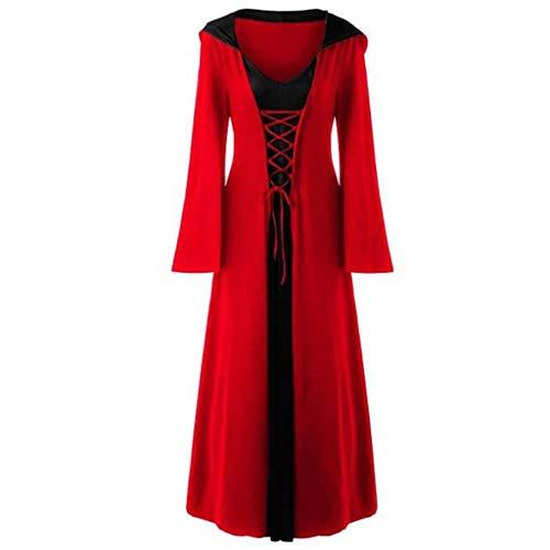 Damen Halloween Retro Kleid mit Kapuze Langarm Kleid Lang Nähen Robe mit Tunnelzug Lomelomme Cosplay Kostüm Damen Kleid Halloween (Baby Katze Frau Kostüm)