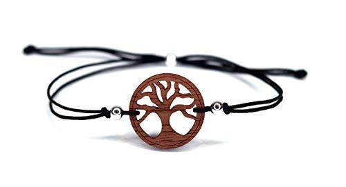 Baum des Lebens Armband - Nuss Massivholz & schwarzes Bändchen - inkl. modernem Etui