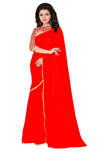 PARISHA Nazmin Solid Women's Saree with Net Embroidered Blouse TRIANGLE1002_Red  available at amazon for Rs.399