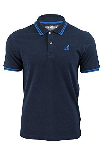 Kangol Herren Poloshirt Pique Polo 'Joshua' Baumwolle T-Shirt Dopplestreifen Kragen Dunkelblau