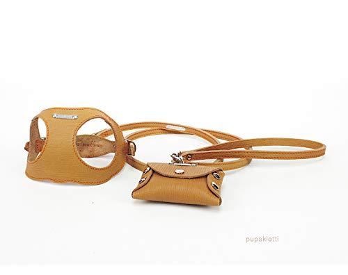 Pupakiotti Leine und Leine mit Tasche aus Echtleder für Hunde, ergonomisches und verstellbares Brustpanzer, 100% Made in Italy, 3-teiliges Set, weiches Leder