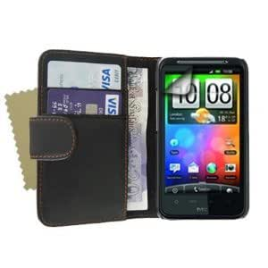 Black PU Leather Wallet Case Cover Cash Card Slots And Screen Protector For The HTC Desire HD