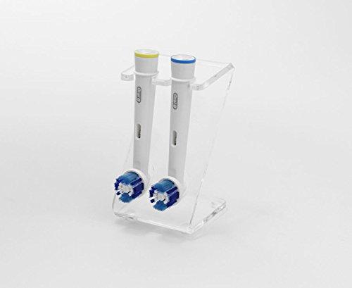 Plastic Online Ltd Ständer für elektrische Zahnbürste und 2 Bürstenköpfe (in verschiedenen Farben erhältlich) farblos