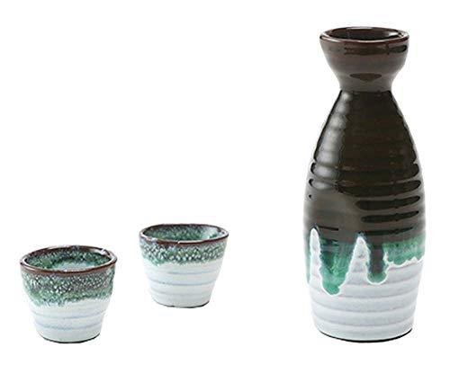 Black Temptation Bouteille de vin en céramique de Style Ancien mis en Verre Set de vin de saké, M4