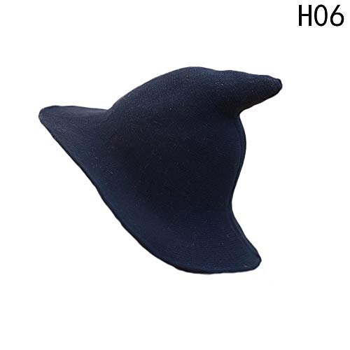 BEARCOLO Lady Korean Fisherman Tidal Basin Wool Cap Pointed Spire Winter Knit Hat Foldable Satin-Soft Witch Hat for Halloween Chrismas