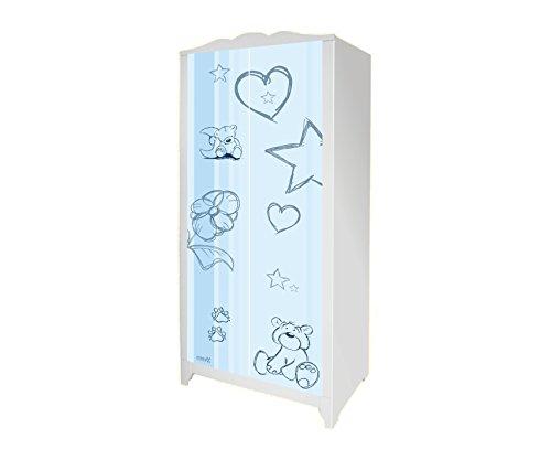 STIKKIPIX Teddy in blau Möbelsticker/Aufkleber für den Kinderschrank HENSVIK von IKEA - IM207 - Möbel Nicht Inklusive