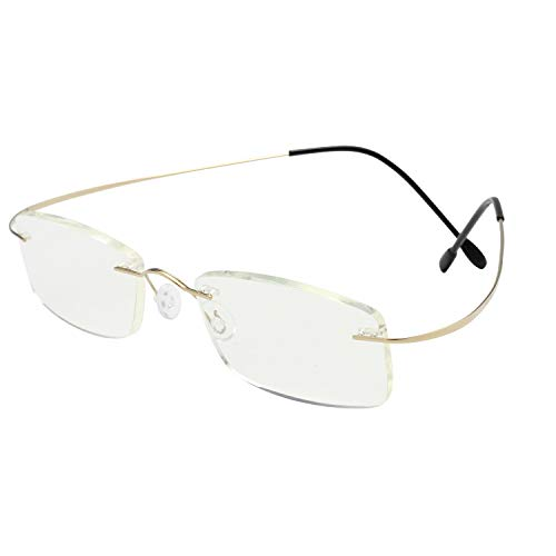 Tragbare biegsame Lesebrille faltbar Anti-blaue ultraleichte HD-Lesegeräte Brillen für Bücher Zeitungen, Grad +1,0 bis +3,5 Gold,+2.50
