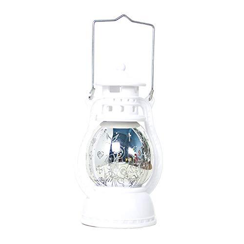 Momangel Weihnachts-Lichterkette Schneemann Santa Vintage kleine Laternen-Lampe Bunte LED Flammen-Effekt Laterne Innen Laterne Deko, Plastik, Snowman*