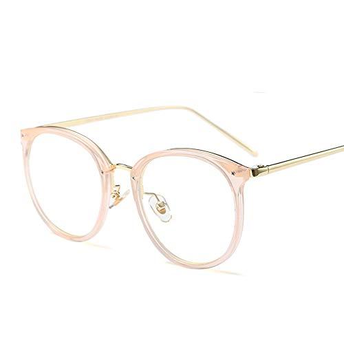 Shengjuanfeng-brillen Metallrunde Retro klare Linse Brillengestell für Frauen. Accessoires (Farbe : Rosa)
