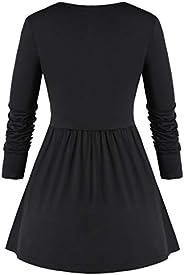 LOPELY Ladies Patchwork Tartan Pullover Tops Women's A Line Tunic Dress Full Sleeve Sweatshirt Loose Jumpe