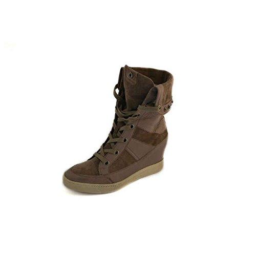 Scarpe Janet Sport sneakers alte con zeppa numero 38 donna in pelle e camoscio beige 32850BEIGE