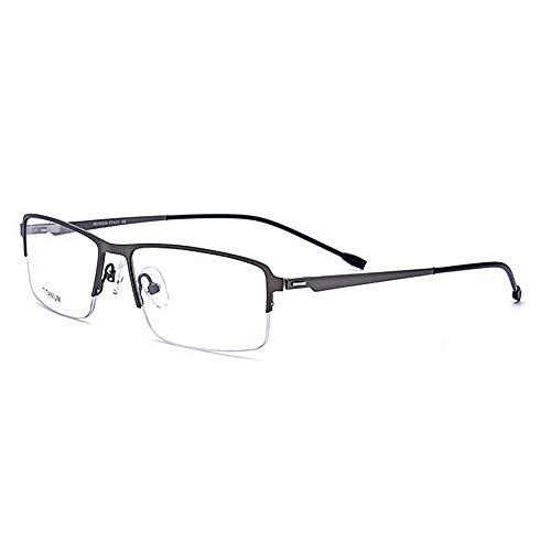 Yiph-Sunglass Sonnenbrillen Mode Leichte Titanlegierungs-Azetat-Faser-halbrandlose quadratische Form-Flexible Geschäfts-Brillen-Rahmen-Brille mit klarer Linse (Farbe : Grau)