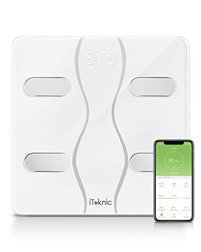 iTeknic Körperfettwaage, digitale Personenwaage mit APP, Bluetooth Körperwaage für iOS & Android, Smart Digitale Waage bis 180kg für Gewicht, Fett, Protein, Wasser, Muskel, Knochen, BMI, BMR usw.