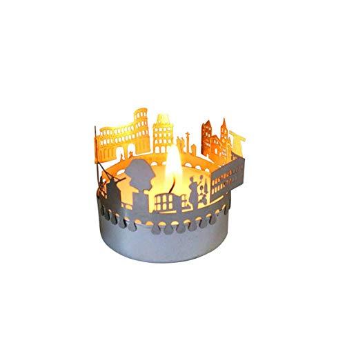 13gramm Trier-Skyline Windlicht Schattenspiel Souvenir, 3D Edelstahl Aufsatz für Kerze inkl. Karte