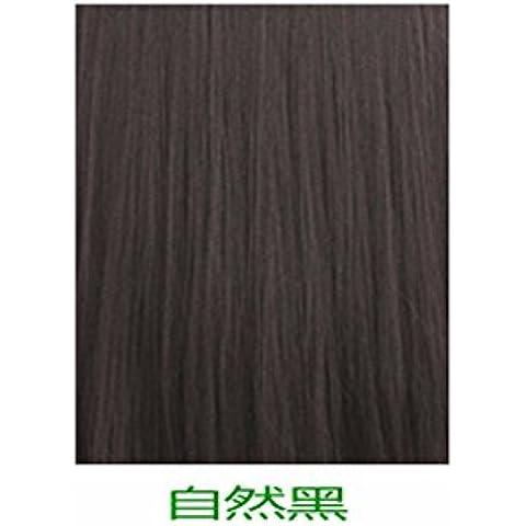 XNWP-Cuero cabelludo femenino aire fino flequillo peluca larga recta pelo en rizos hebilla realista en el largo cabello negro,Natural