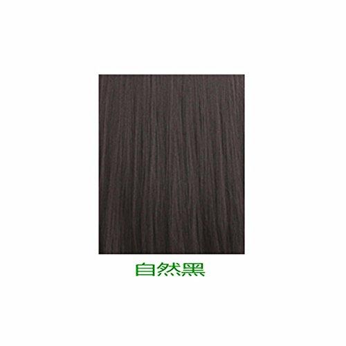 XNWP-Testa di pera natural scalp aria-bangs wig lunghi capelli ricci in donne capelli soffici radere,Nero naturale