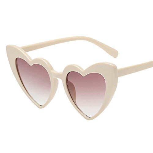 Frauen Retro Fashion Herzförmige Shades Sonnenbrille,EUZeo Integrierte UV-Brille Sunglasses (G)