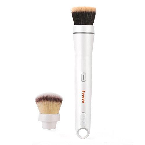 Electric Make Up Pinsel, Foraco Professional Elektrisch Makeup Brush Starter Set mit Abnehmbare Blush und Foundation Make-up Kopf, 360 Grad Drehbar, USB Aufladbar, Geschenk Verpackung (Schwarz) - Antibakterielle Make-up Pinsel