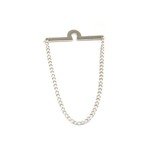 QHGstore Uomo Collare Bar Spilla Pin Foulard con la catena per Skinny Ties cravatta argento