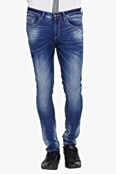 Spykar Mens Blue Super Skinny Fit Low Rise Jeans (34)