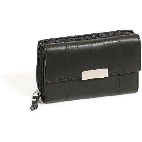 Cartera Monedero para señoras LEAS, Piel auténtica, negro - ''LEAS Zipper-Collection''