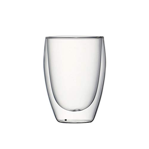 Erjialiu Hitzebeständiges doppelwandiges Kaffeeglas handgefertigt Zwei Schichten Dof Glas 350ml,Stil 1 Dof Set