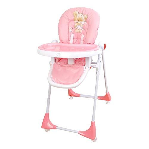 Trona para bebé regulable, doble bandeja, modelo osito rosa, silla bebé. Trona para niños.
