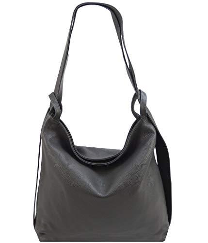 Freyday 2in1 Damen Handtasche Rucksack Designer Luxus Henkeltasche aus 100% Echtleder (Dunkelgrau)