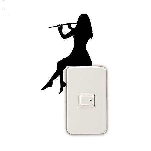 Shuzhen,ragazza che suona il flauto silhouette light switch sticker adesivi murali di musica classica(color:nero,size:15x9.8cm)
