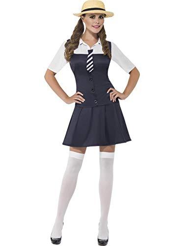 Kostüm Damen Brave - Fancy Ole - Damen Frauen Frauen Braves Schulmädchen Uniform Kostüm mit angesetztem Hemd,Kleid, Schlips und Hut, perfekt für Karneval, Fasching und Fastnacht, L, Blau