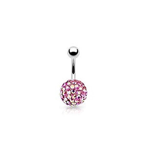 Coolbodyart unisexe piercing nombril 10mm Ferido ballon hors de l'acier chirurgical et 92 pierres Rose arc