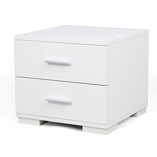 2 Schublade Nachttisch (Songmics Nachttisch Nachtschrank Kommode Ablagetisch mit 2 Schubladen MDF 40 x 35 x 40 cm weiß LBC35W)