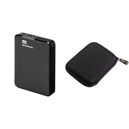 Western Digital Elements 2 TB Externe Tragbare Festplatte mit AmazonBasics Festplattentasche