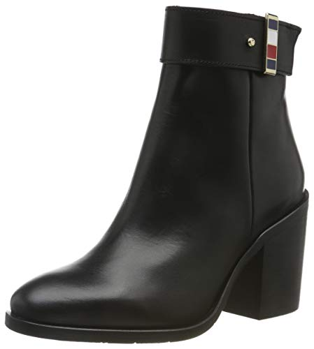 Tommy Hilfiger Corporate Hardware Bootie, Stivaletti Donna, Nero (Black Bds), 39 EU