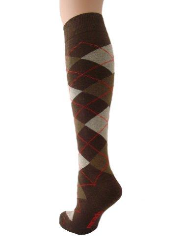 Mysocks® Knie hoch Argyle Socken Braune Crème Rote Linie (Argyle Knie Hoch)