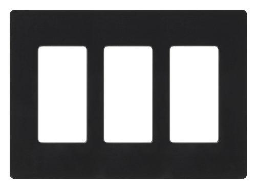 Lutron CW-3-BL Claro 3-Gang Wallplate, Black by Lutron