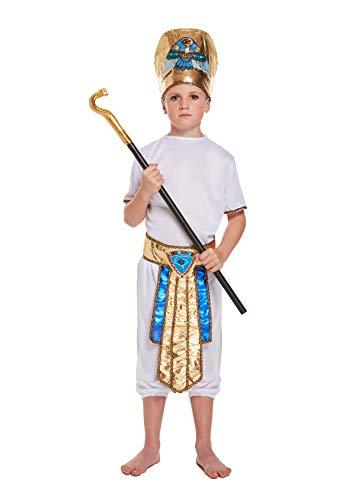 Disfraz de niño egipcio de 10 a 12 años. Viene completo con 3 cañas de serpiente. Adecuado para días del libro mundial y días de sueño en la escuela.