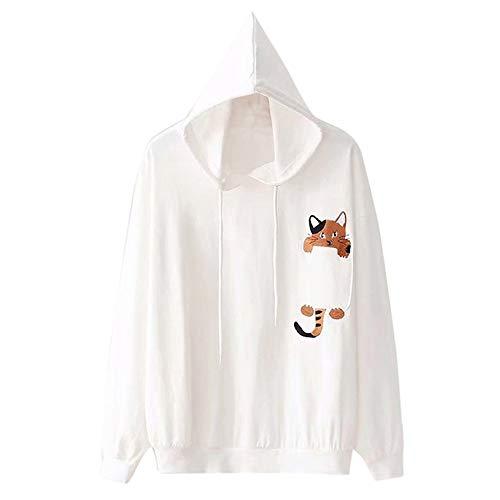 OYSOHE Damen Sweatshirt,Katze Print Langarm Bluse mit Kapuze Pullover Tops Shirt(Weiß,S )